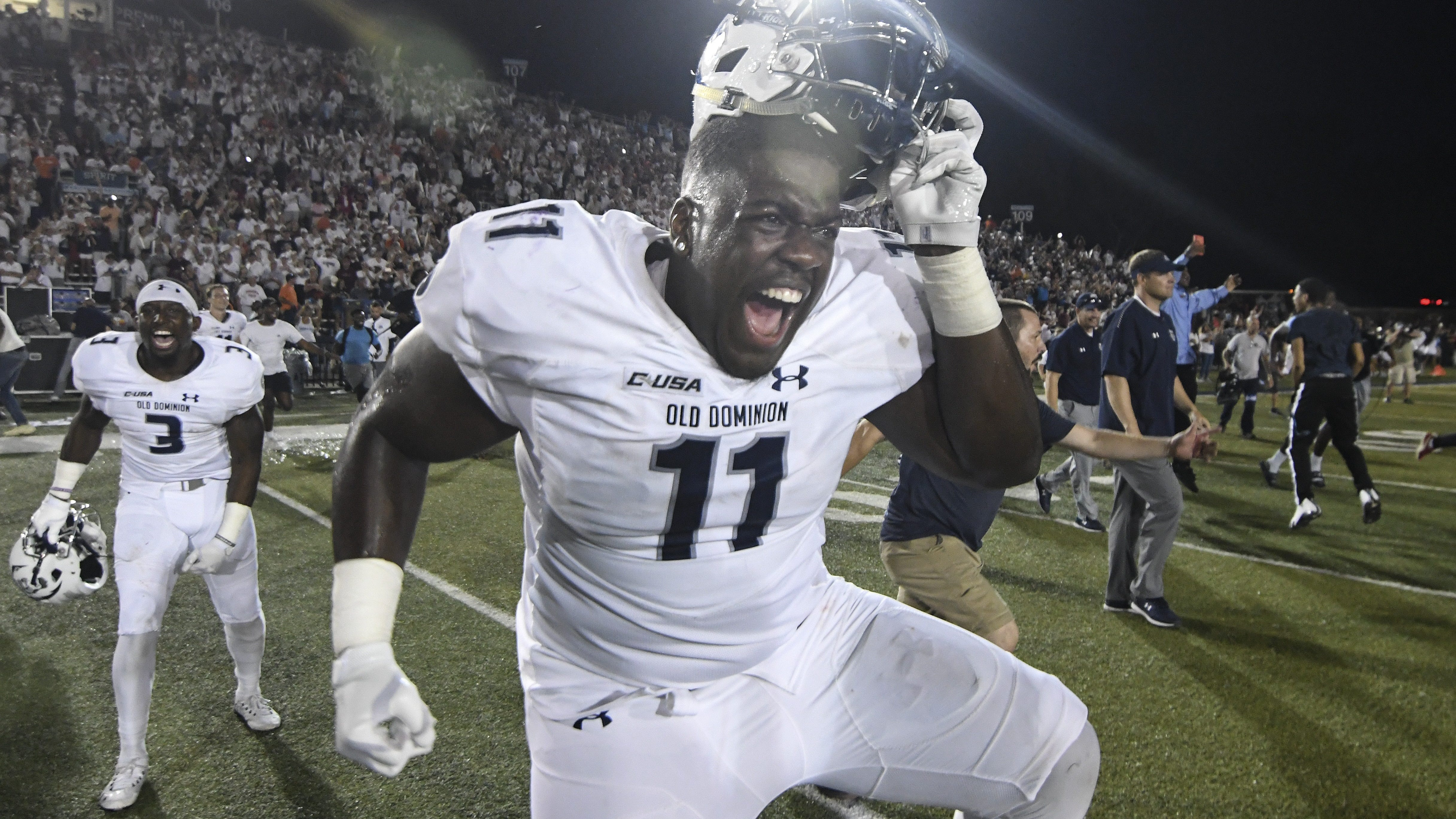Miles Fox and Old Dominion celebrate their stunning win over No. 10 Virginia Tech.