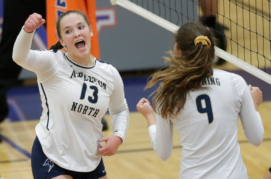 Megan Piton (13) is one of the top players for the talented Appleton North girls volleyball team, which swept Kimberly on Thursday to gain control of the Fox Valley Association title chase.