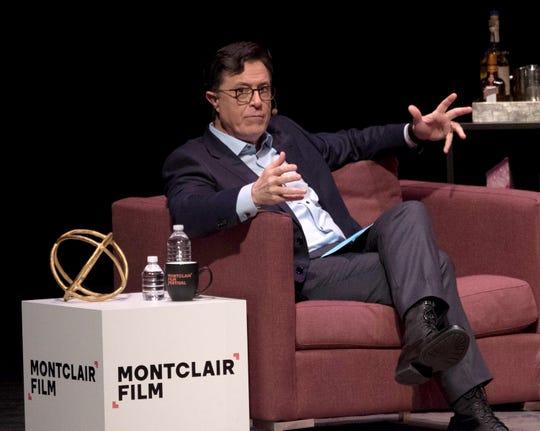 Stephen Colbert speaks onstage at Sad! A Happy Evening with Stephen Colbert & Samantha Bee for Montclair Film at NJPAC on December 2, 2017 in Newark.