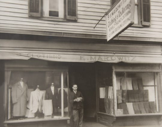Photo of Frank's Big and Tall Men's Shop owner Ken Marowitz's grandfather outside the original store in New Brunswick.