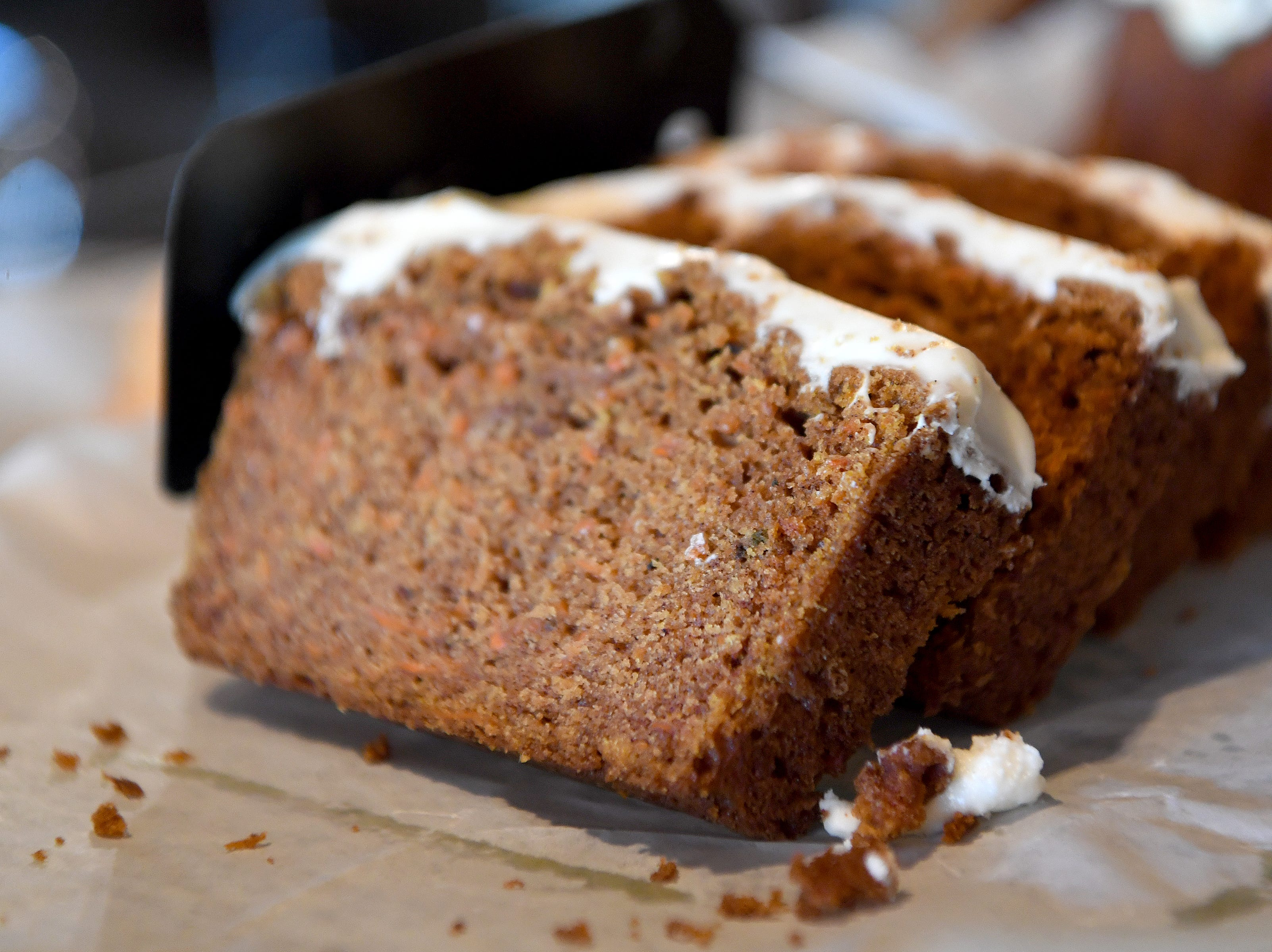 The carrot cake bread at the Beehive Coffee Bar in Arden is topped with a sweet thin layer of icing.