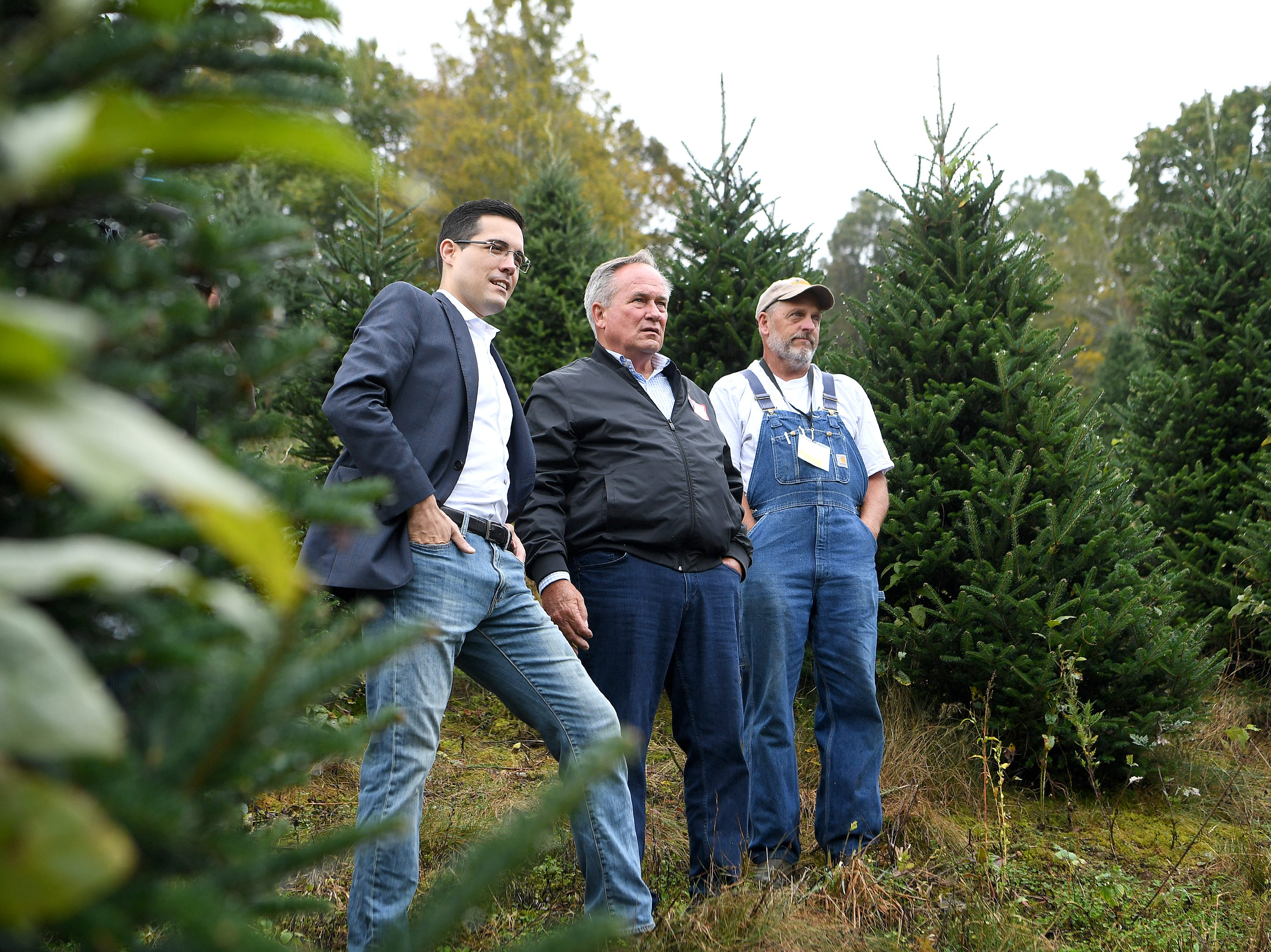 White House chief usher Timothy Harleth, left, and superintendent of grounds Dale Haney, center, look at one of Avery County Christmas tree grower Larry Smith's, right, trees as they search for the perfect one to display in the Blue Room of the White House during an event at his Newland farm on Sept. 24, 2018. Smith was named this year's Grand Champion in the National Christmas Tree Association's Christmas tree contest and with the title comes the honor of presenting a tree to the White House.