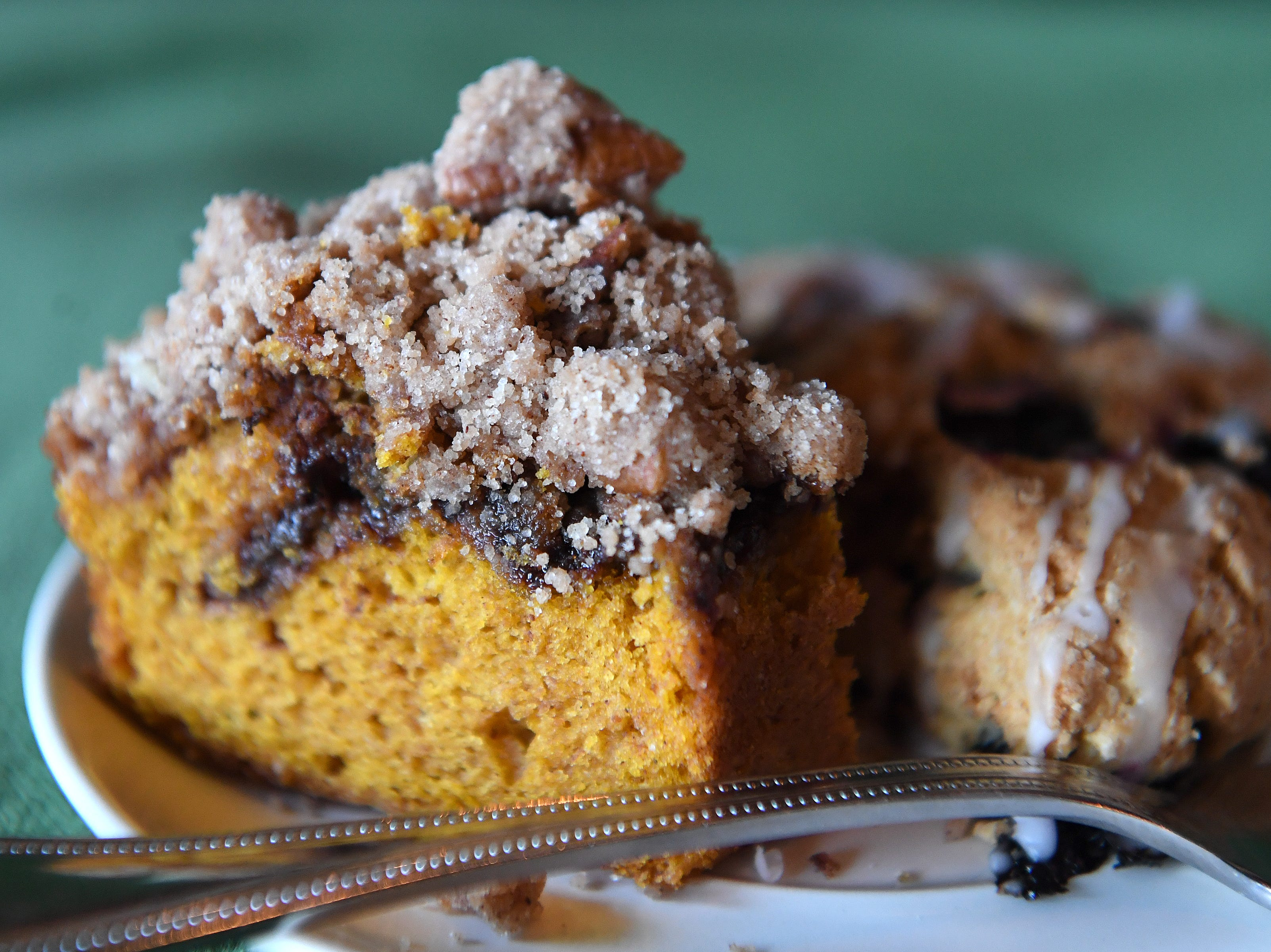 The pumpkin chocolate chip coffee cake at the Beehive Coffee Bar in Arden has a signature streusel crumb topping. The baked goods at the shop are made fresh, in-house, daily.