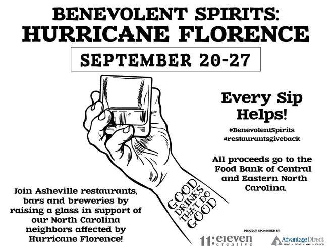 Benevolent Spirits: Asheville restaurants and bars are working together to raise money for hurricane relief.