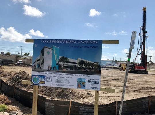 Construction is underway on the Cocoa Beach downtown parking garage.