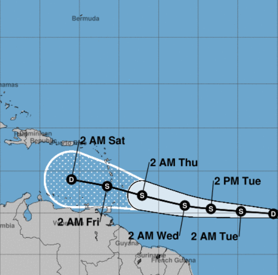 Tropical Storm Kirk path and predicted track