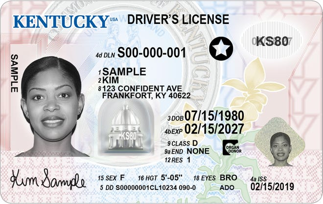A driver licensing office in Boone County has become a regional office where Kentucky residents can obtain REAL ID licenses acceptable to board an airplane or enter a military base. This a previously released sample license that shows what a REAL ID looks like with a star in the upper right.