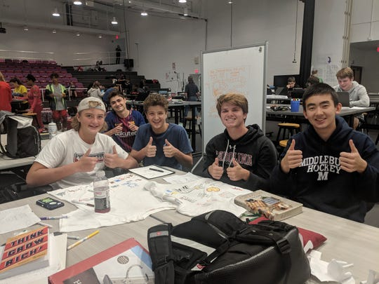 Sycamore High School Synnovation Lab students working on a Spanish project on Sept. 13, 2018. From left:  Casey Goans (backward baseball cap), Grant Bolotin, Nicolai Geraci, Liam Fleck and Marty Khan.