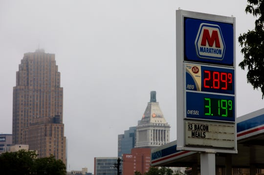 The gas sign at a Marathon in Downtown Cincinnati on Monday, Sept. 24, 2018.