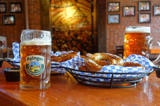 Ayinger Oktoberfest and Pretzel Basket at Hessen Haus.