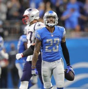 Detroit Lions cornerback Darius Slay celebrates his interception during the second half against the New England Patriots, Sunday, Sept. 23, 2018 at Ford Field.