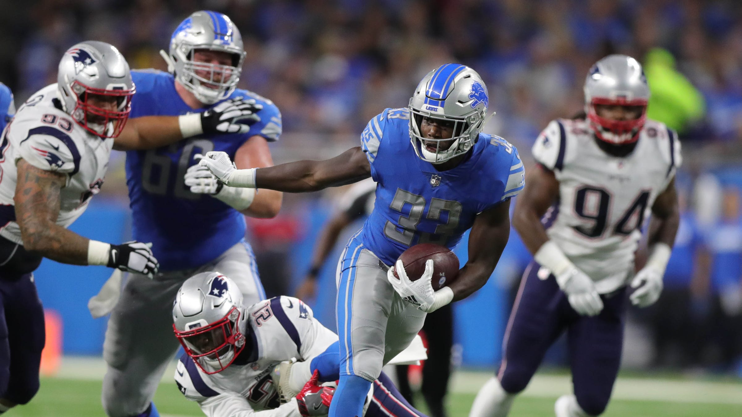 Kerryon Johnson ends Detroit Lions 100-yard rusher drought at 70 games
