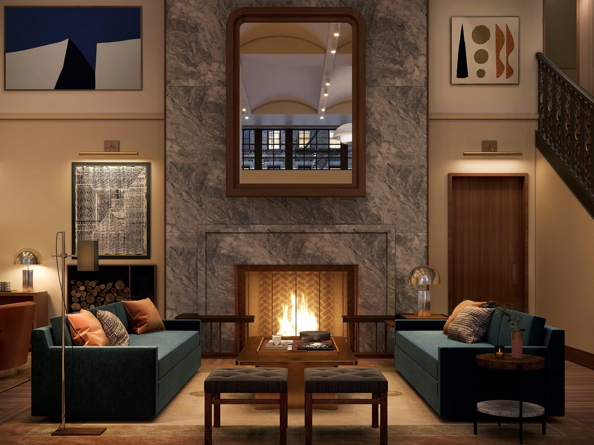 Shinola Hotel living room.