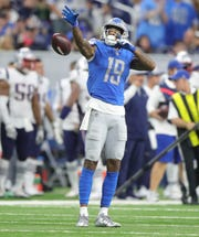Detroit Lions receiver Kenny Golladay strikes a pose during second half action against the New England Patriots Sunday, September 23, 2018 at Ford Field in Detroit.