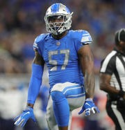 Detroit Lions linebacker Eli Harold celebrates a sack vs. the New England Patriots during the second half Sunday, Sept. 23, 2018 at Ford Field.