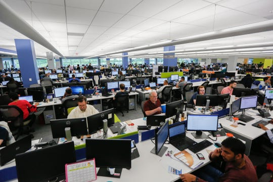 Workers on the floor at United Shore's new headquarters in Pontiac, Mich. on Wednesday, June 20, 2018.