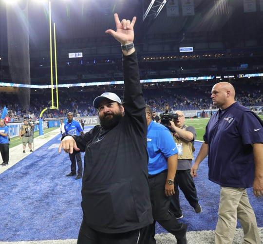 Detroit Lions head coach Matt Patricia leaves the field after the 26-10 win over the New England Patriots on Sunday, Sept. 23, 2018 at Ford Field.