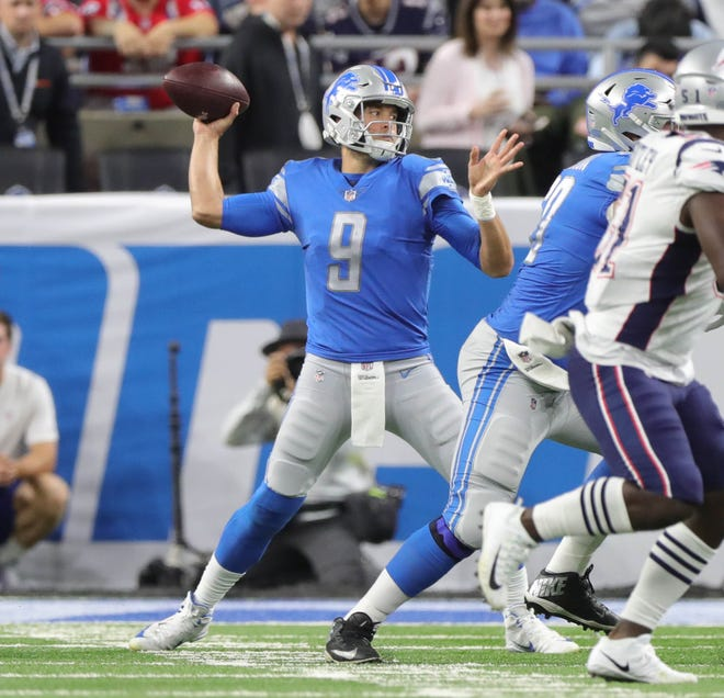 Detroit Lions quarterback Matthew Stafford passes against the New England Patriots during the first quarter Sunday, Sept. 23, 2018 at Ford Field.