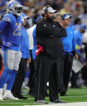 Detroit Lions head coach Matt Patricia on the sideline during the first quarter against the New England Patriots on Sunday, Sept. 23, 2018 at Ford Field in Detroit.