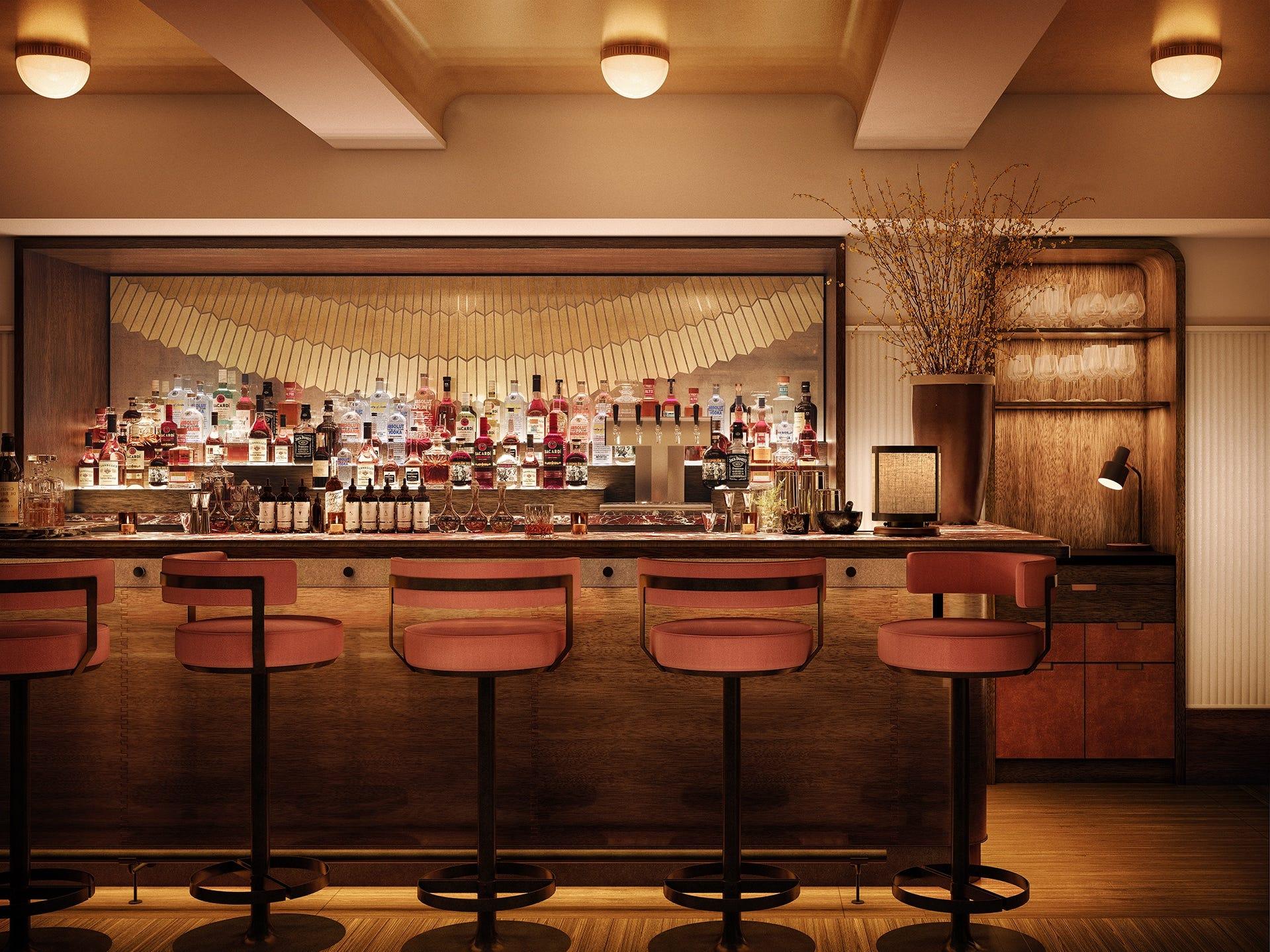 Shinola Hotel evening bar.
