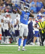 Detroit Lions receiver Kenny Golladay celebrates during the second half against the New England Patriots, Sunday, Sept. 23, 2018 at Ford Field.