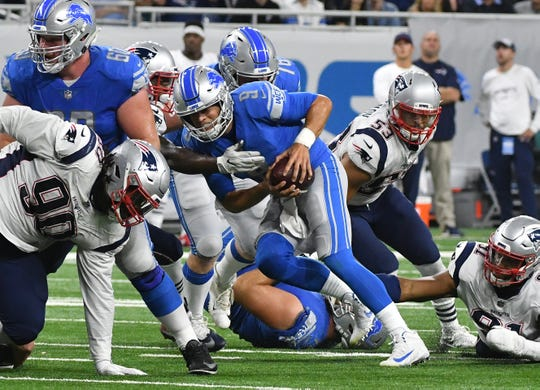 Lions quarterback Matthew Stafford needs to stay upright Sunday.