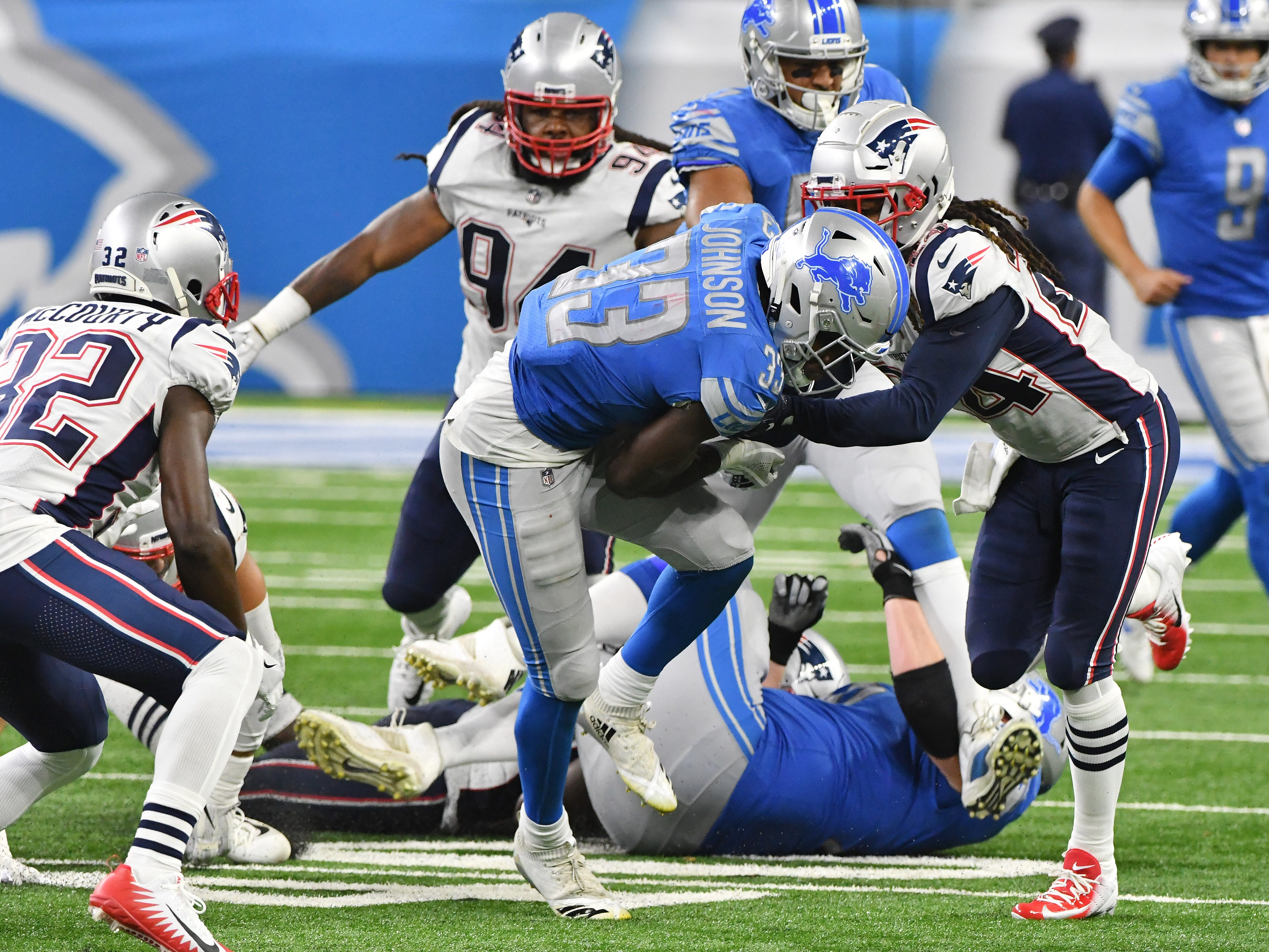 Lions running back Kerryon Johnson breaks the 100 yard mark on this run in the 4th quarter.