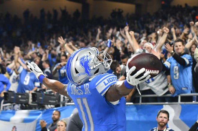 Lions wide receiver Marvin Jones Jr. celebrates his touchdown reception in the third quarter.
