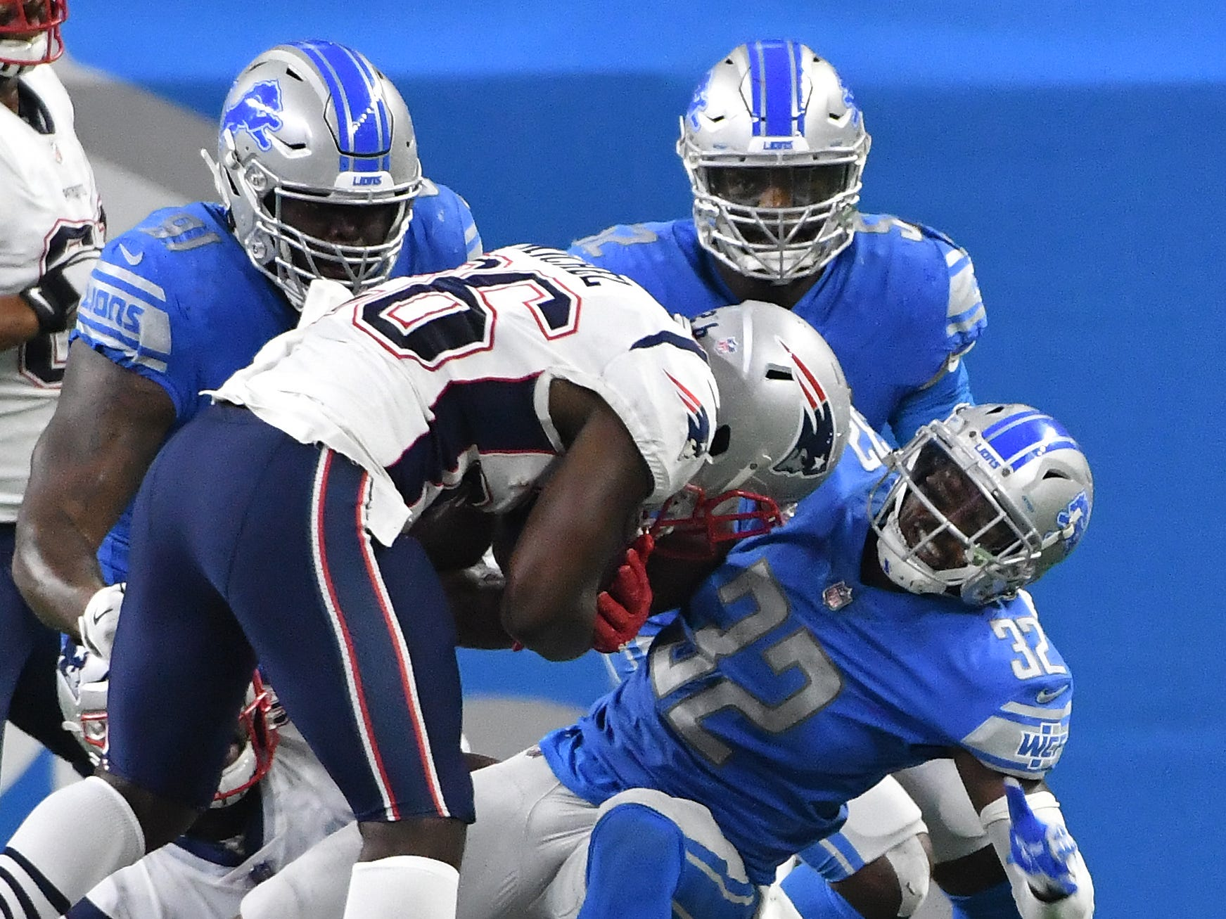 Lions' Tavon Wilson pulls and the defense stop Patriots' Sony Michel from making a first down on 3rd and one in the second quarter.