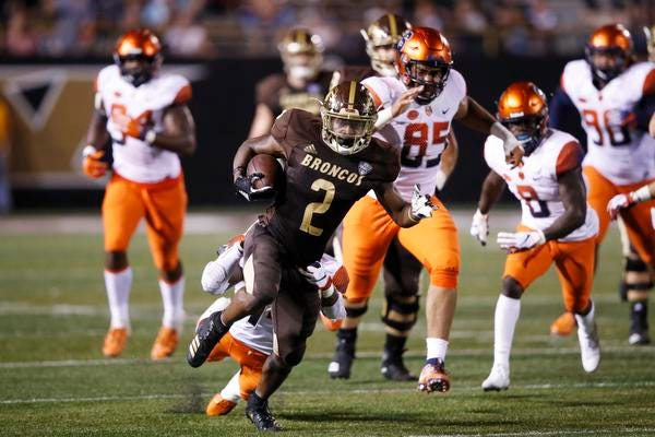 Junior running back LeVante Bellamy (2) leads Western Michigan with 389 yards rushing and a 7.8 yards-per-carry average over four games.
