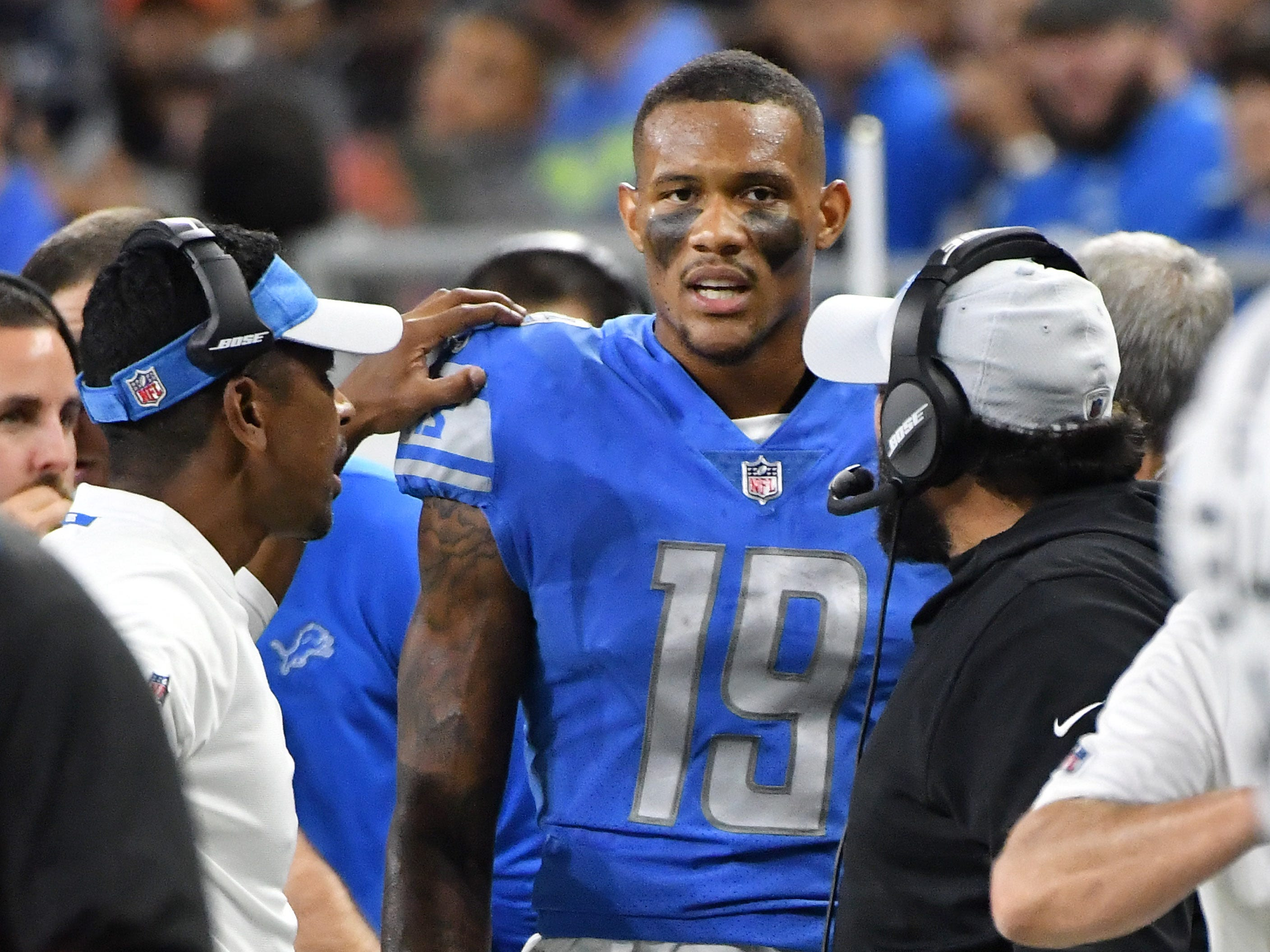 Lions' Kenny Golladay on the sidelines during the review of the goal line play in the second quarter.  After review it was ruled a touchdown.