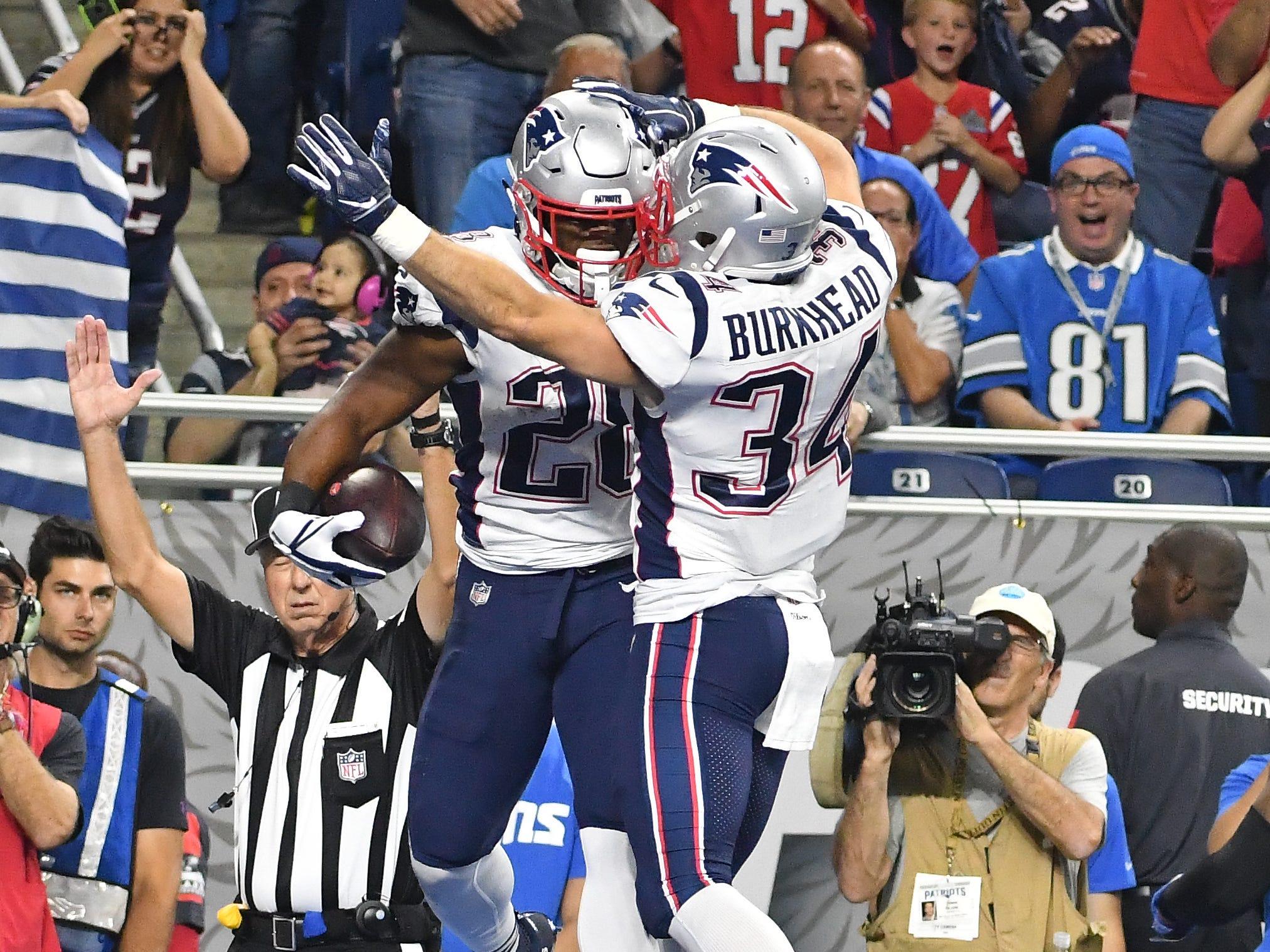 Patriots' James White and Rex Burkhead celebrate Whites touchdown in the 3rd quarter.