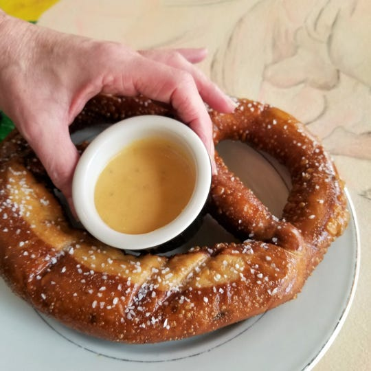 The Bavarian pretzel on MaryScott's Sunday Football menu is large enough to feed your team.