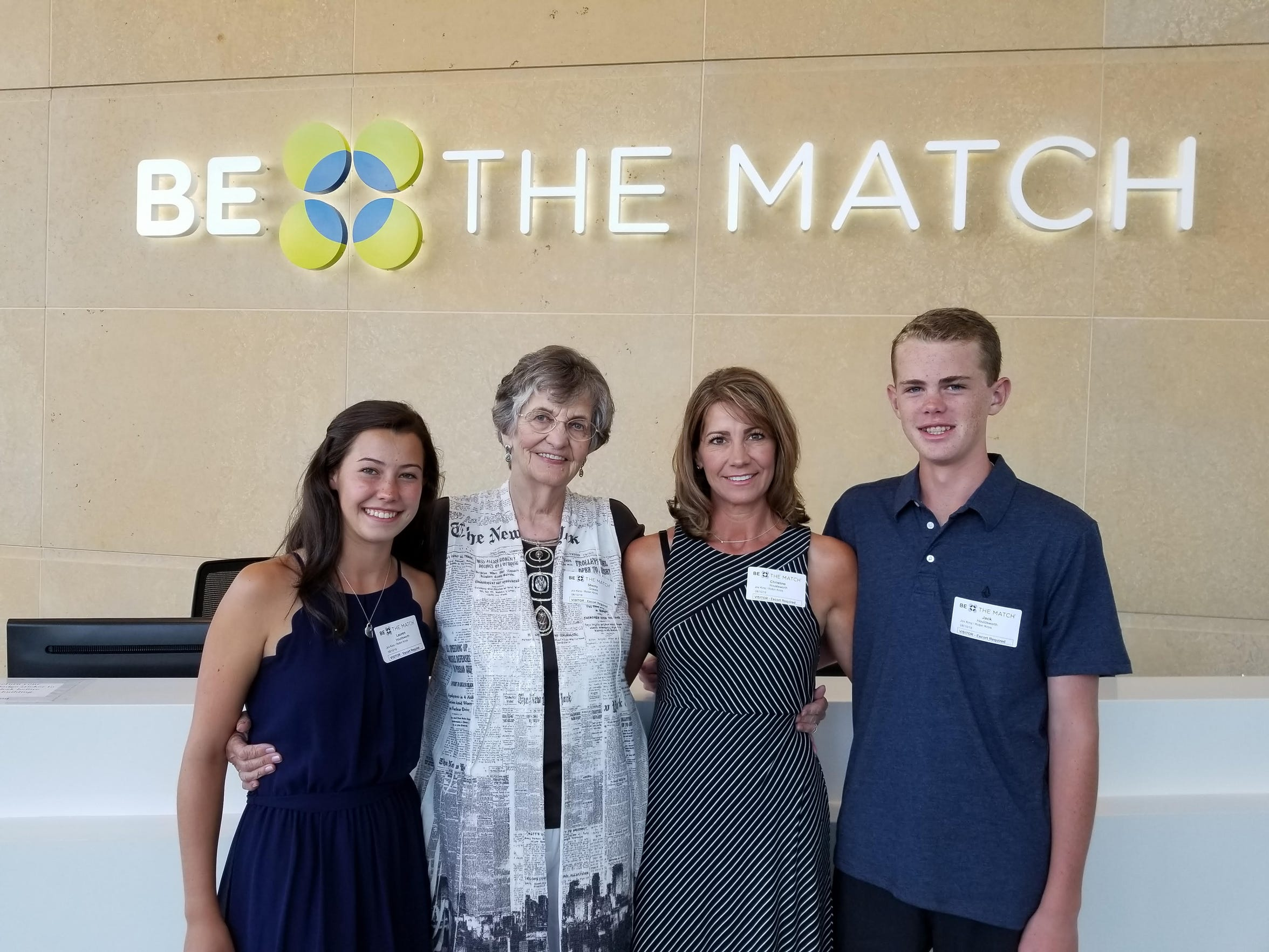 Family members (from left to right) Lauren Houldsworth, Sherry Graves, Christine Houldsworth and Jack Houldsworth at the Be The Match headquarters in Minneapolis.