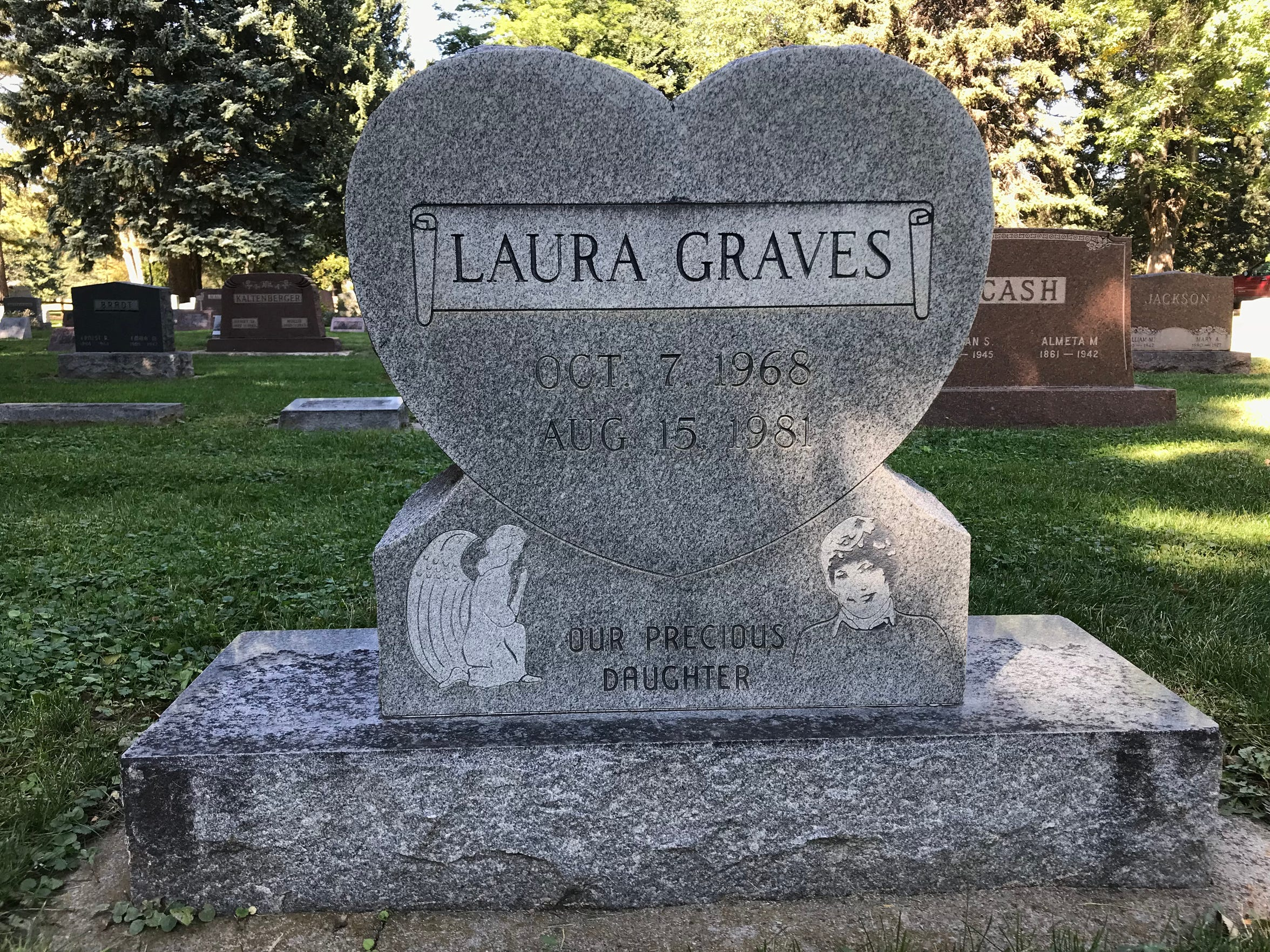 The grave of Laura Graves, the first person in the world to receive a bone marrow transplant from a non-related donor.