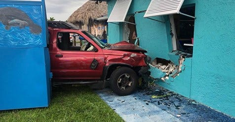 A Cape Coral woman who lost control of an SUV and crashed into a restaurant on Del Prado Boulevard Saturday night later died in the hospital, police said.
