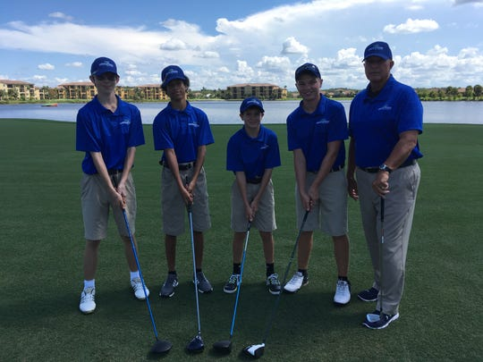 The Bonita Springs boys golf team under first-year head coach Bruce Buchla consists of (from left-to-right) Brayden Rodriguez, Connor Horigan, Corey Kalisik and Mason Dozer