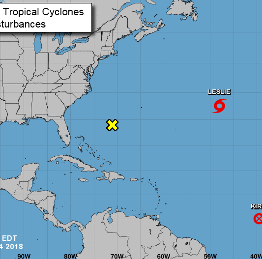 Kirk dissipates, little change in strength expected; Subtropical Storm Leslie slows