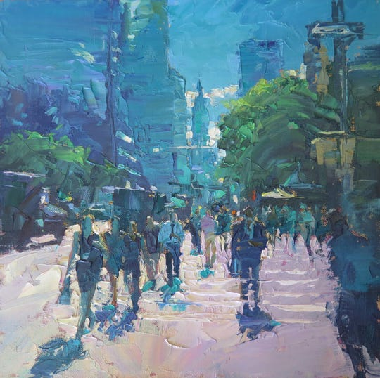 """""""Manhattan Morning Light"""" by Michele Byrne, part of the 19th annual American Impressionist Society National Juried Exhibition opening Sept. 27 at the Peninsula School of Art."""