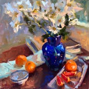 """Blood Oranges and Blues"" by Shannon Smith Hughes, part of the 19th annual American Impressionist Society National Juried Exhibition opening Sept. 27 at the Peninsula School of Art."