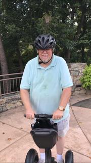 Greenville News columnist Ron Barnett enjoying his Segway tour of downtown.