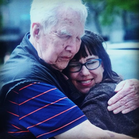 Deborah Vinson meets her father, William Foster, for the first time in Seattle in June 2017.