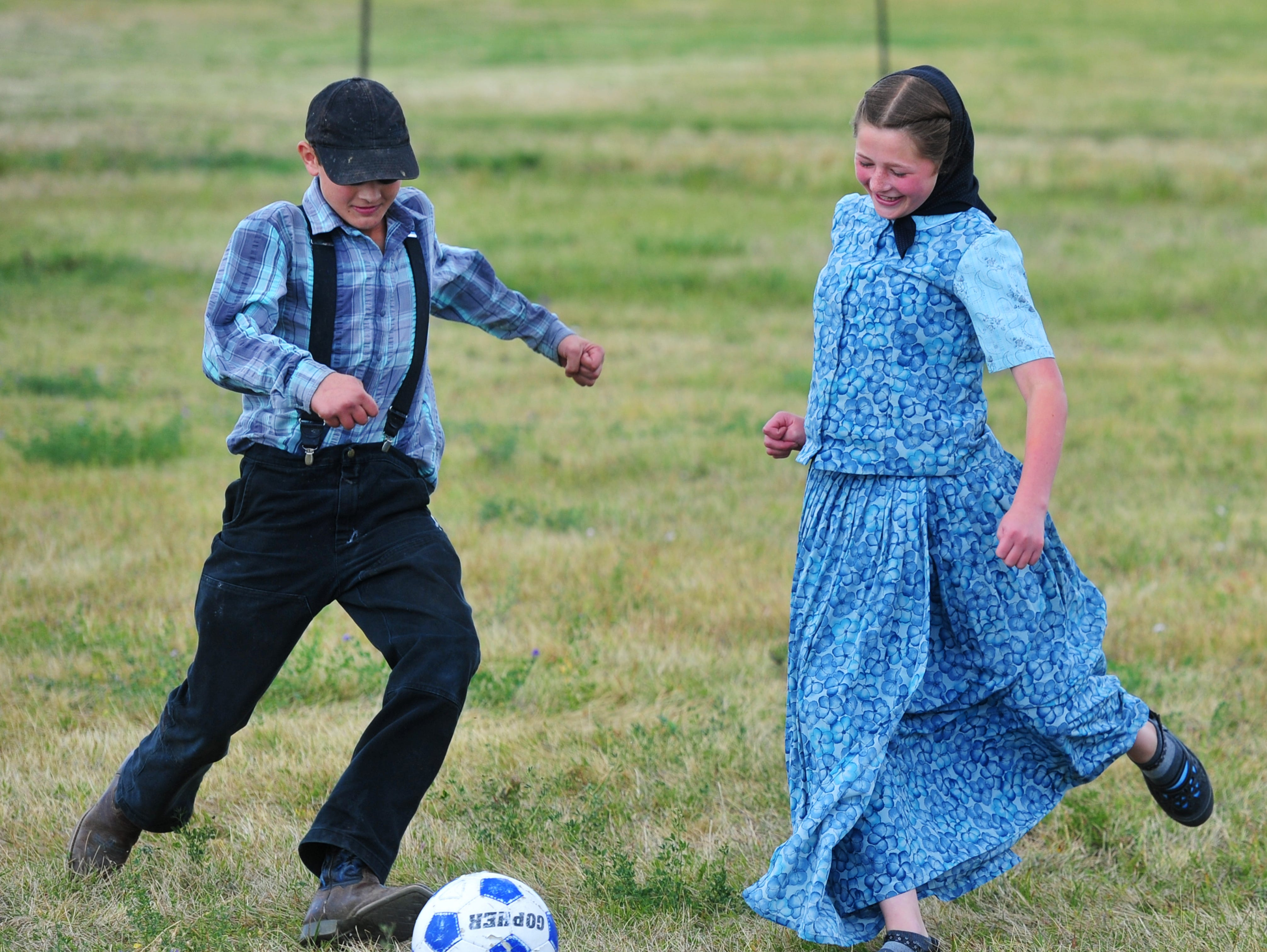 1:22 pm:  Traci Manseau's class plays a boys versus girls soccer match on Monday, Sept. 17, 2018.  Manseau is a teaching veteran of 23 years and she has spent her entire career teaching in one room rural school houses.  She is currently teaching 15 students across seven different grade levels at the Deerfield Hutterite Colony in North Central Montana's Fergus County.