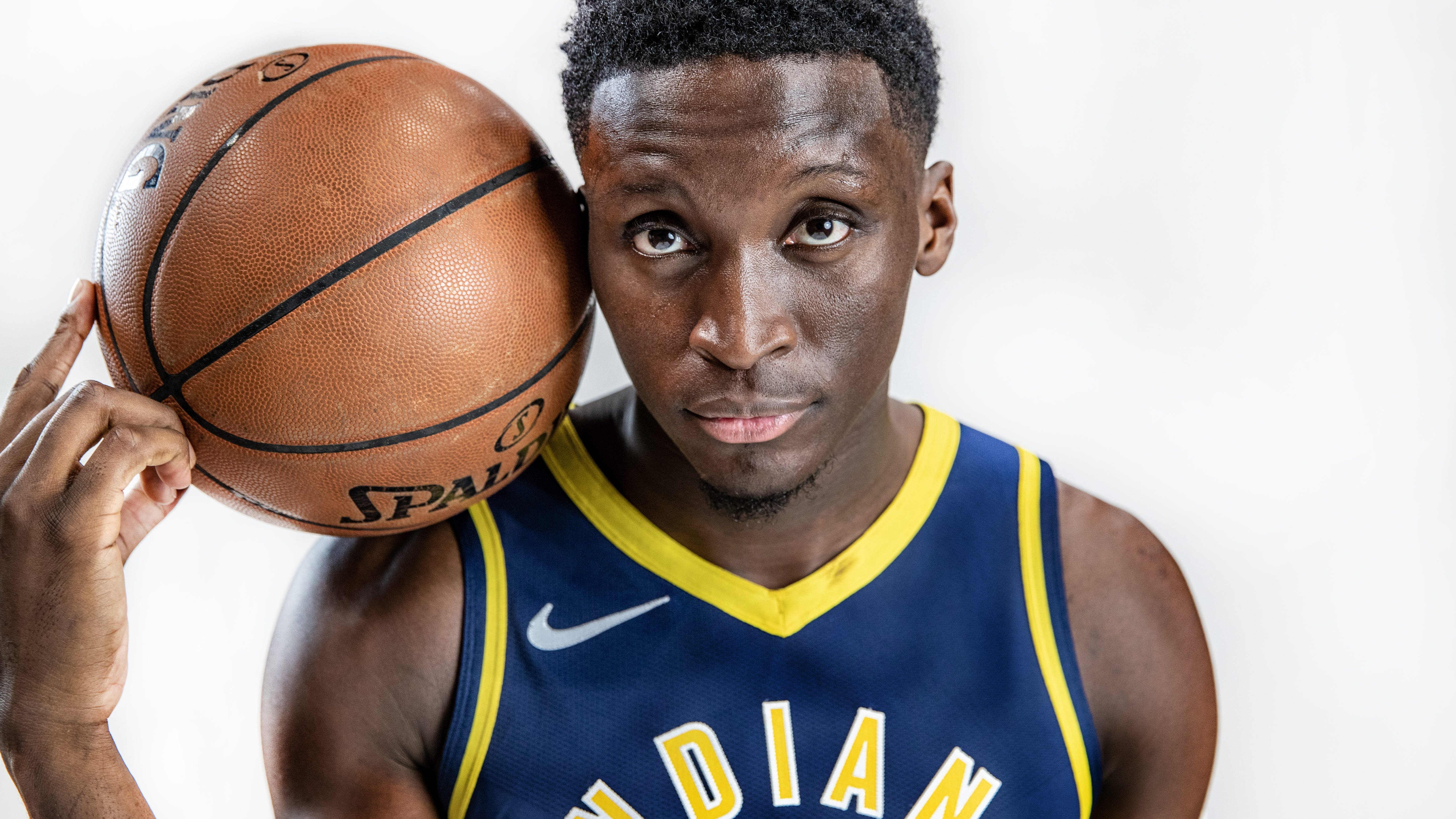 Photo illustration of Indiana Pacers guard Victor Oladipo (4) during the Pacers' media day at Bankers Life Fieldhouse on Monday, Sept. 24, 2018.
