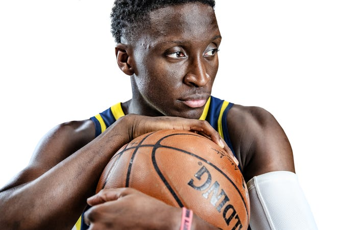 Indiana Pacers guard Victor Oladipo (4) poses for a portrait during the Pacers' media day at Bankers Life Fieldhouse on Monday, Sept. 24, 2018.