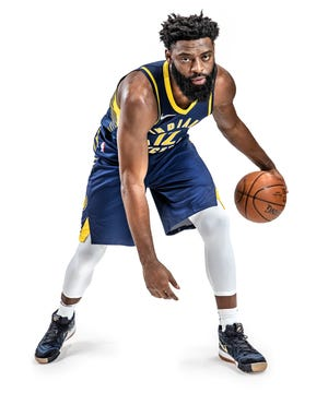 Photo illustration of Indiana Pacers guard Tyreke Evans (12) during the Pacers' media day at Bankers Life Fieldhouse on Monday, Sept. 24, 2018.