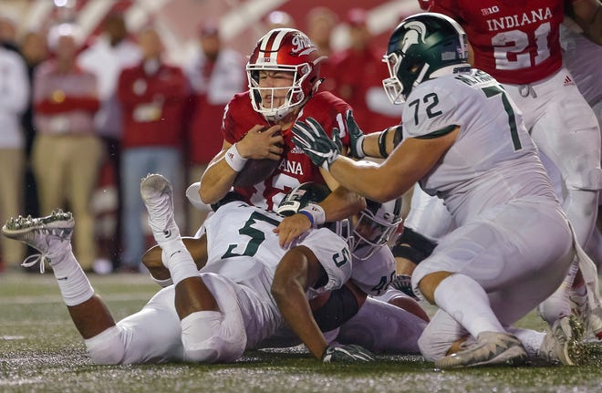 IU QB Peyton Ramsey was under siege all night from the Michigan State defense in Saturday's loss.