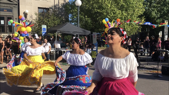 Dancers perform at the Festival Latino on September 23, 2018, in Iowa City.