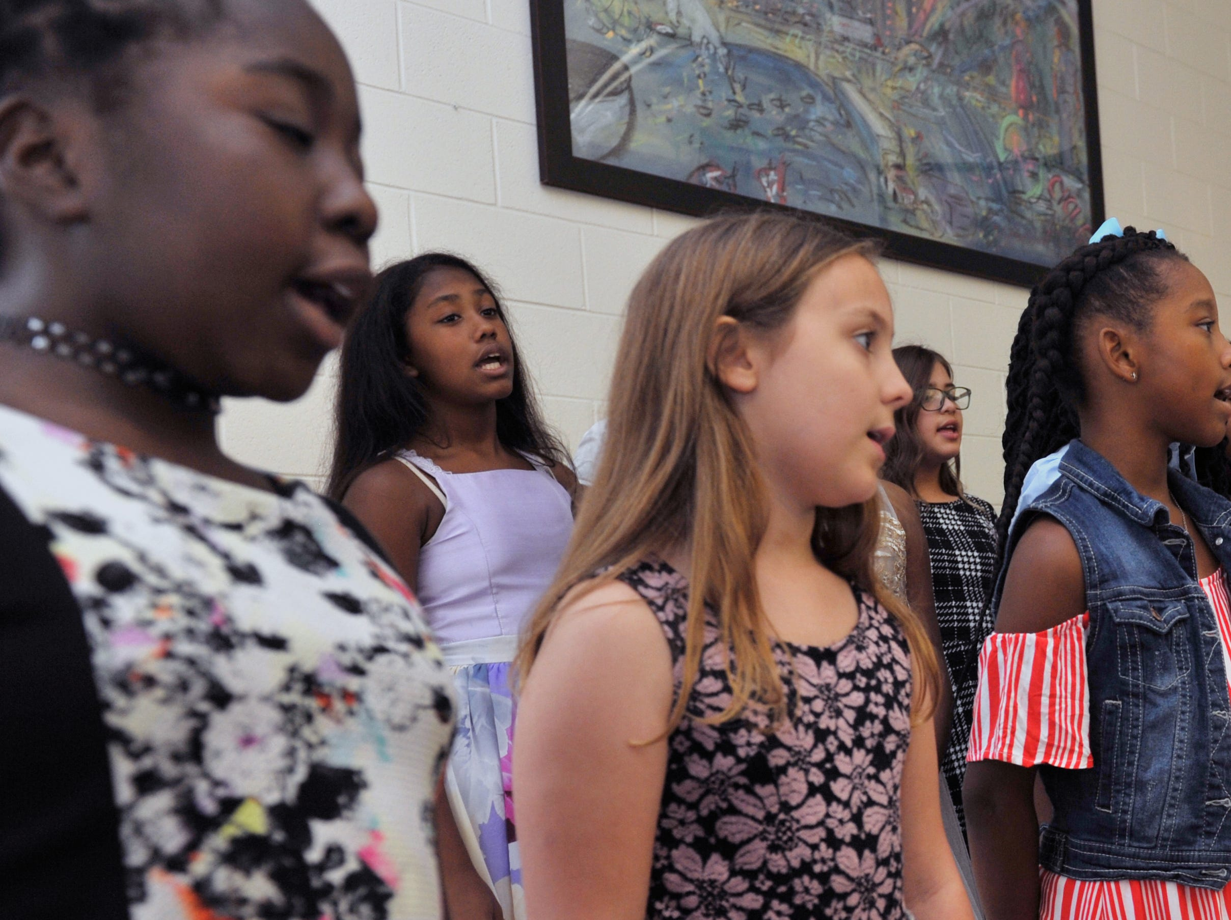 The Girls of Purpose Club choir sings during the Girls with Purpose Club Mother-Daughter Tea at Highland Elementary School in Ridgeland Friday, Sept. 21, 2018.