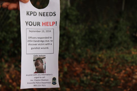 Knoxville Police Department officers placed notices on residents' doors that they were continuing to investigate Colin Jackson's case and urged anyone with information to call them.